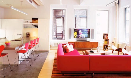 Tribeca Lofts – Playing With Pink Color in Apartment Interior