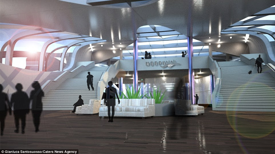 Designer Gianluca Santosuosso said the hotel would be an alternative to cruise ships and take guests to new and unknown places