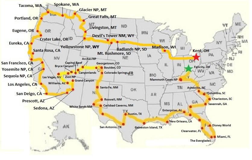 U S A Road Trip Map Tb J Travel