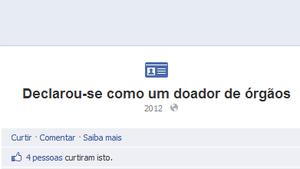 Página de usúario que se declarou doador de órgãos (Foto: Reprodução Facebook)