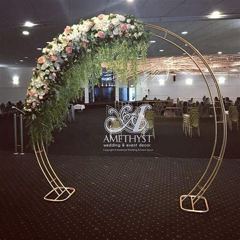 Gold Circle Arch Corner Silk Floral   Amethyst Wedding