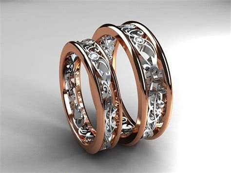 Two tone filigree wedding band set, diamond wedding rings