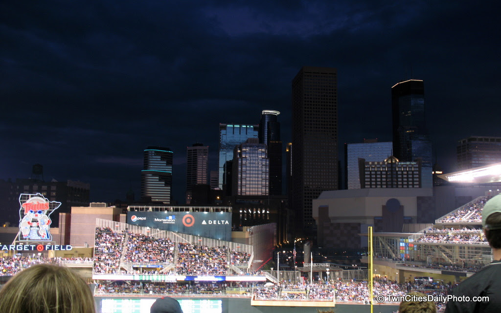Since 1982, the Minnesota Twins have played baseball in the Metrodome. In 2010, they now play in a brand new stadium called Target Field. The white, teflon coated fiberglass fabric roof is a thing of the past. You can now sit, watch a baseball game, view the Minneapolis skyline and take photos of downtown from your seat.