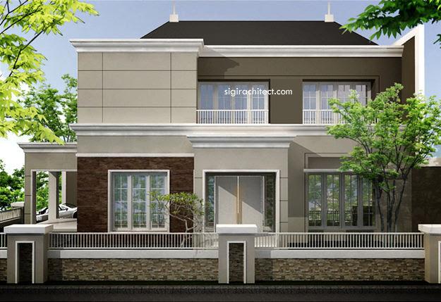 Desain Rumah Semiklasik Kavling Pojok Hoek 2 Lantai
