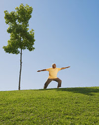 photo of a man doing tai chi