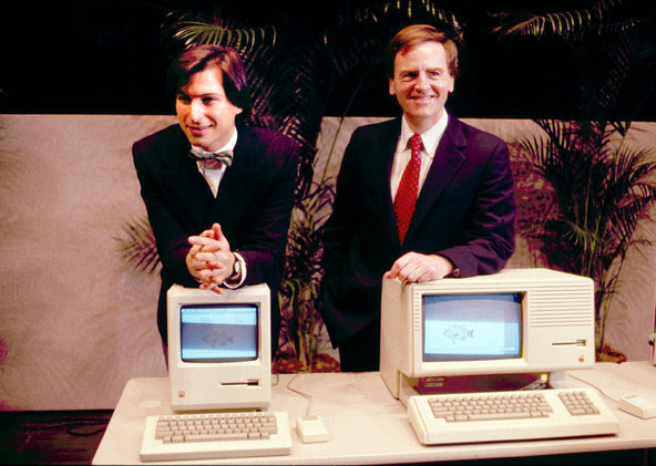 Steven P. Jobs, left and John Sculley presented the Macintosh computer at an Apple shareholder meeting in Cupertino, Calif, in January 1984.