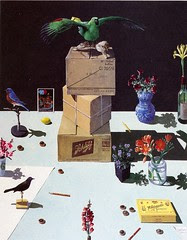 Paul Wonner's dutch still-life with stuffed birds and chocolates from the california artists cookbook