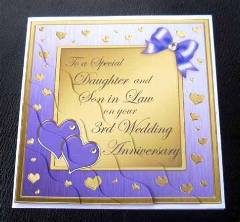 Daughter & Son In Law 3rd Wedding Anniversary Card   4