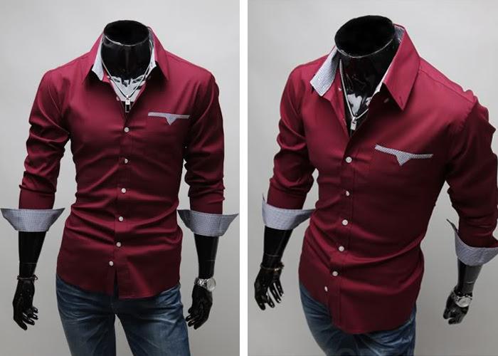 Camisa Casual Slim Fit con Detalles en el Bolsillo, Cuello y Mangas  - roja (WC83)