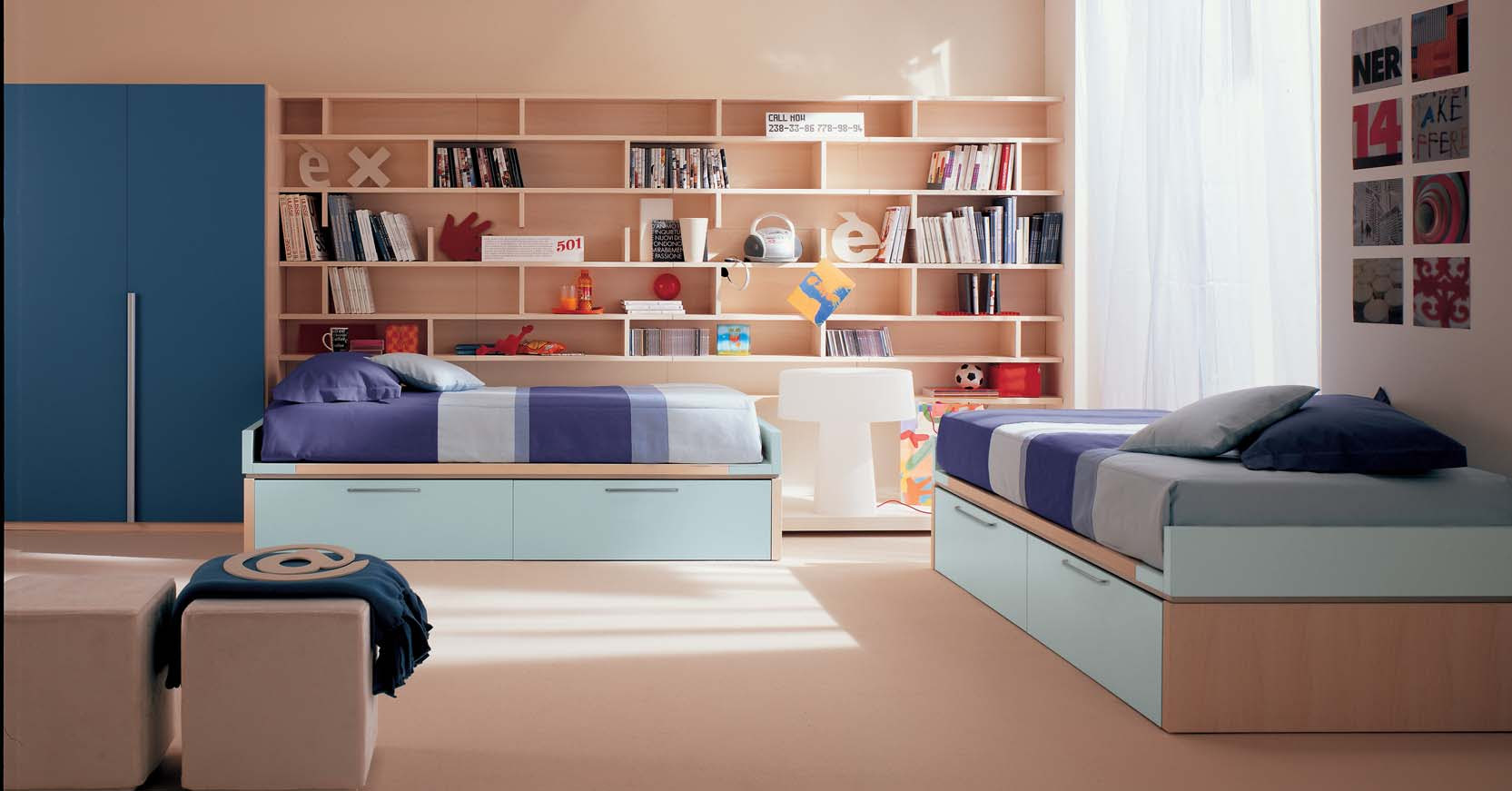 Kids Bedroom with Book Shelves - StyleHomes.