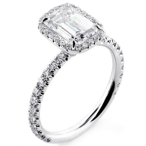 White Gold 1.82 Cts Emerald Cut Diamond with Halo Set In