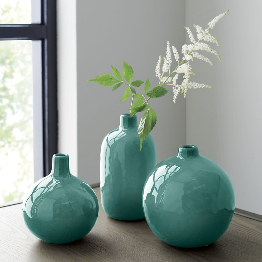 Turquoise bud vases from Crate Barrel