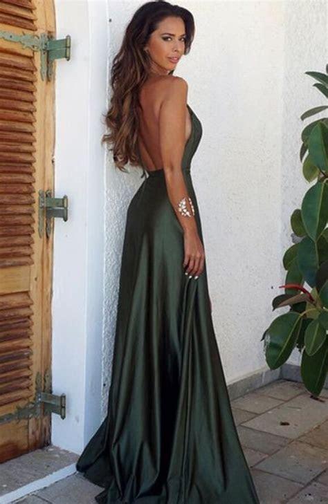 Elegant Simple Prom Dress,Sexy Backless Split Prom Dress