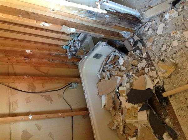 gutted bathroom, slight water damage, not sure to replace ...