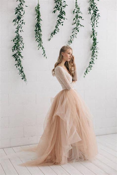 Champagne Nude Ivory Wedding Dress, Two Piece Wedding