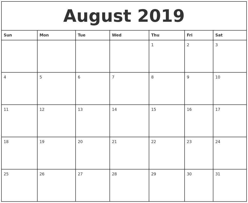 august 2019 printable monthly calendar