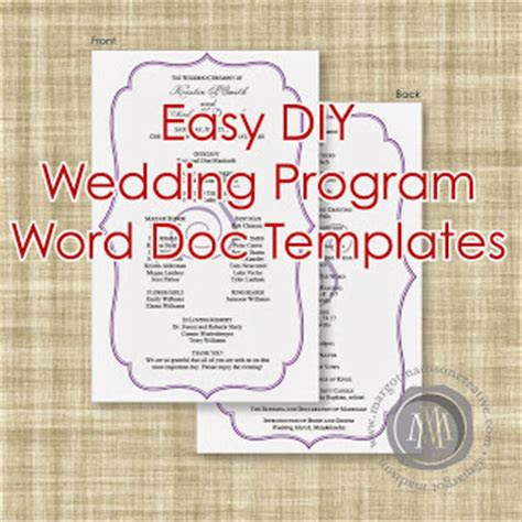 margotmadison diy wedding program word  templates