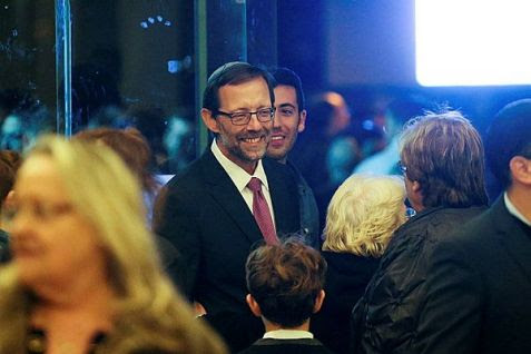 MK Moshe Feiglin seen with supporters during Wednesday's primary election.