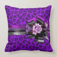 Pillows Purple Leopard Bow Black Pink Silver Rose throwpillow
