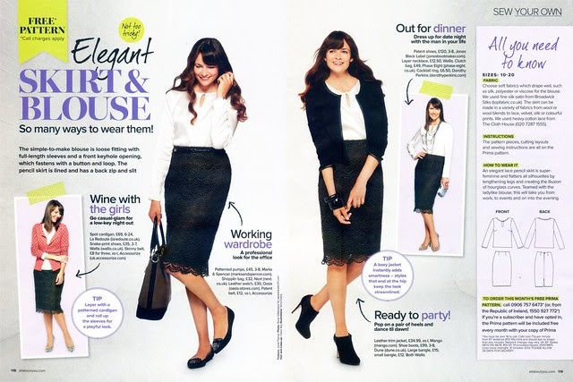 PRIMA Magazine - October 2013 - Blouse & Pencil Skirt