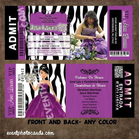 Purple Zebra Quince Invites, Ticket