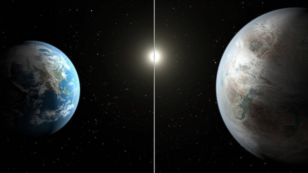 PHOTO: The artistic concept compares Earth (left) to the new planet, called Kepler-452b, which is about 60 percent larger.