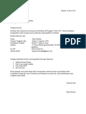 Contoh Surat Lamaran Kerja Tanpa Nama Pt Kumpulan Contoh Gambar