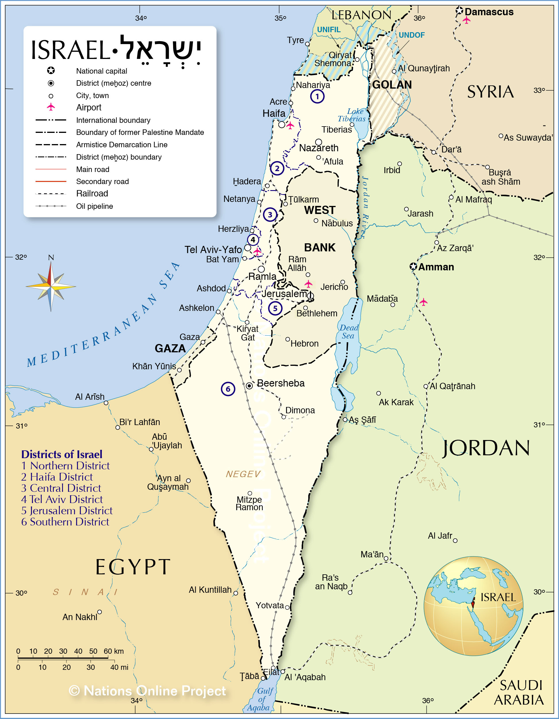 Political Map of Israel - Nations Online Project