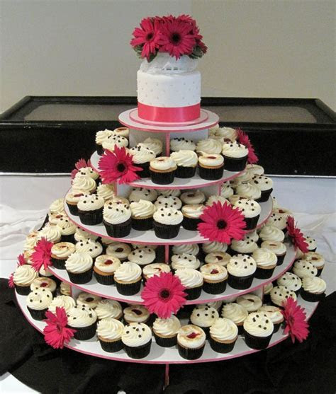 Hot Pink, Black & White Wedding Cupcake Tower   Cupcake