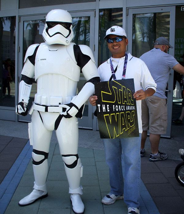 Posing with a Stormtrooper from THE FORCE AWAKENS at the Star Wars Celebration in Anaheim, California...on April 16, 2015.