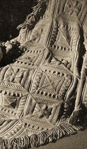 Sculptured Block Knitted Afghan A Vintage 1947 Knitting
