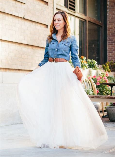 rustic wedding sydne style tulle skirts denim shirt