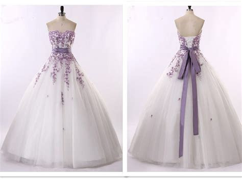 white  purple wedding dresses bridal gowns size