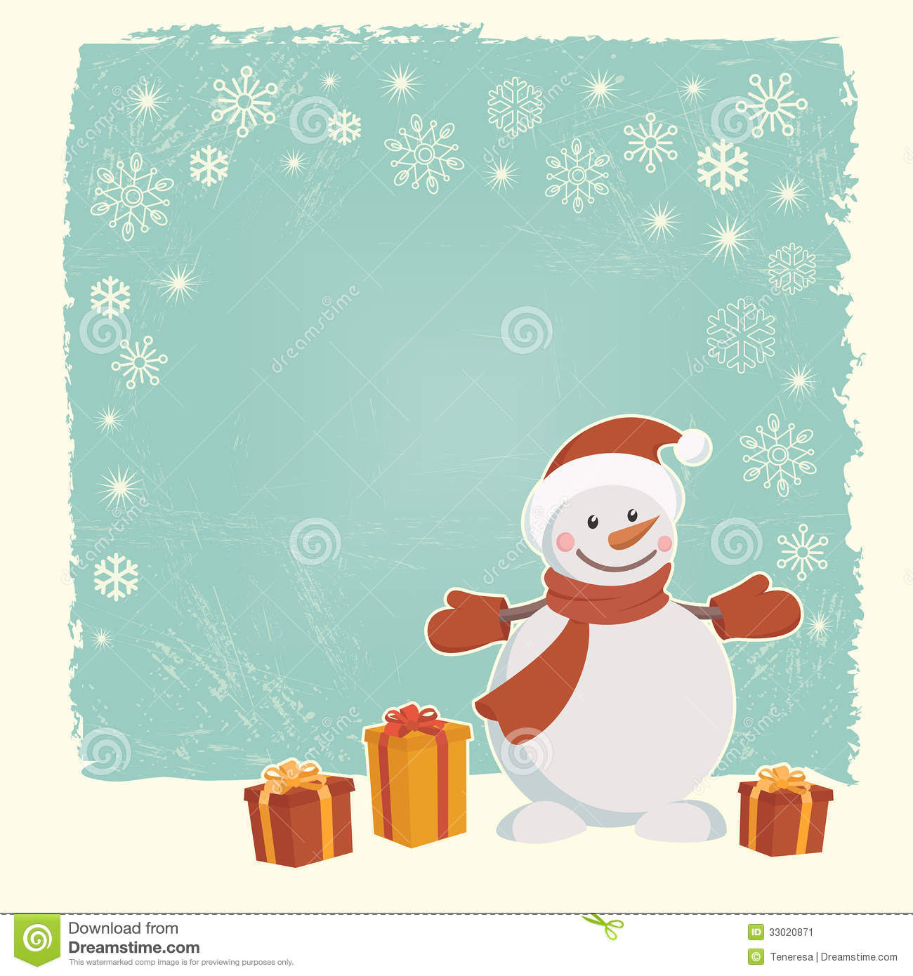 Retro Christmas Card With Snowman Stock Image - Image: 33020871