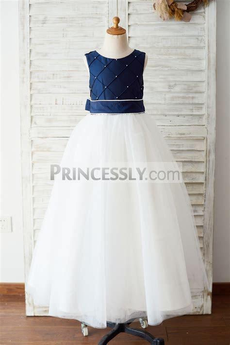 Navy Blue Taffeta Ivory Tulle Wedding Party Flower Girl