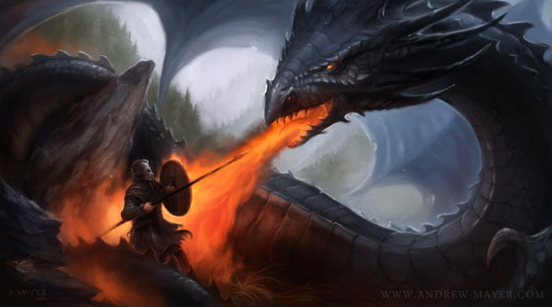 Beowulf affrontant le Dragon