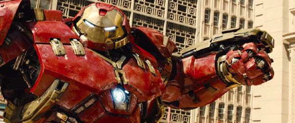 The Hulkbuster is about to throw a punch at the Hulk (off-screen) in 2015's AVENGERS: AGE OF ULTRON.