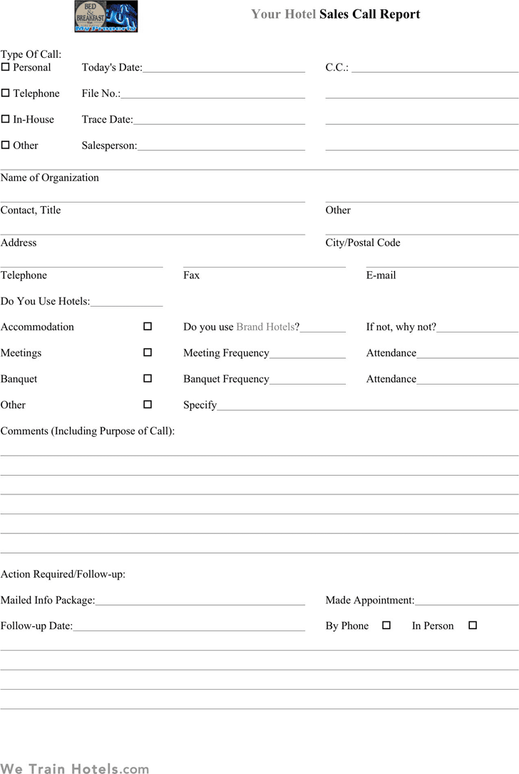 sales call report template - Template
