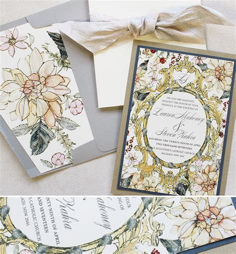 Baroque and Floral Frame Wedding InvitationsMomental Designs