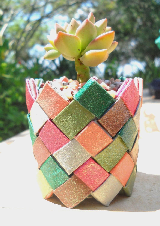 "Origami plant basket  - jewel tones - strong sturdy basket with succulent  Graptosedum ""California Sunset"" - ChickenJungle"