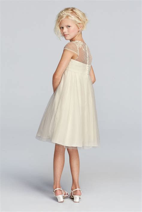 Mesh Flower Girl Dress with Illusion Neckline David's