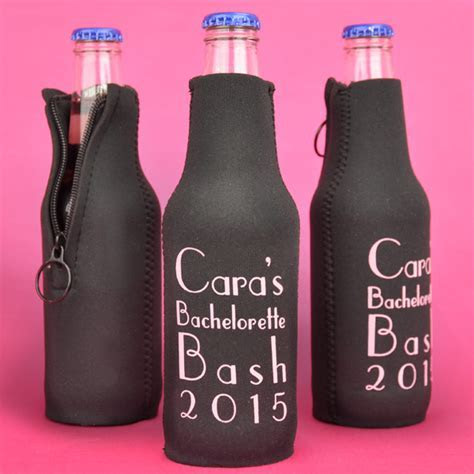 Neoprene Zip Up Beer Bottle Koozies Personalized   Set of 12