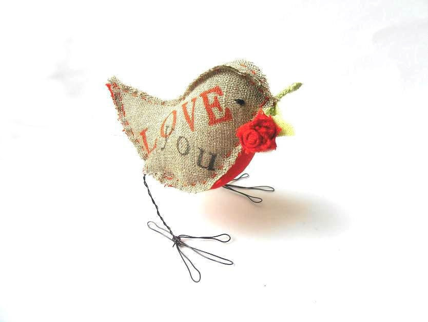 Bird figurine handmade rustic gray linen sculpture handprinted Love You with red Rose - 5lovebirdsnest