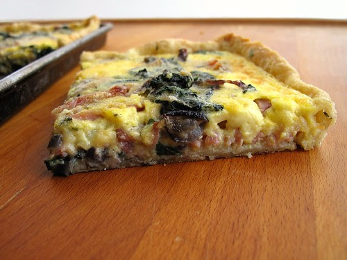 spinach, nettle, and ham quiche slice