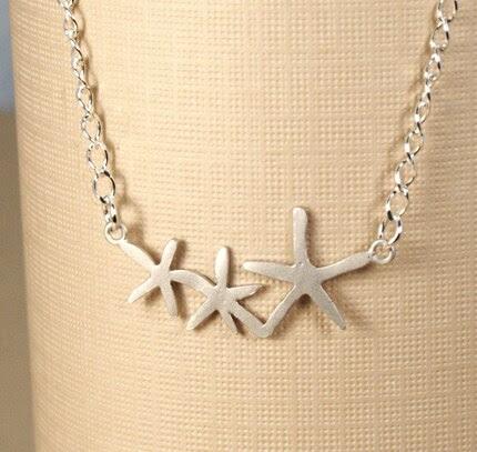 Simple Silver Starfish Trio Necklace