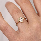 Pear Cut Halo Engagement Ring   0.5 Carat Diamond Ring