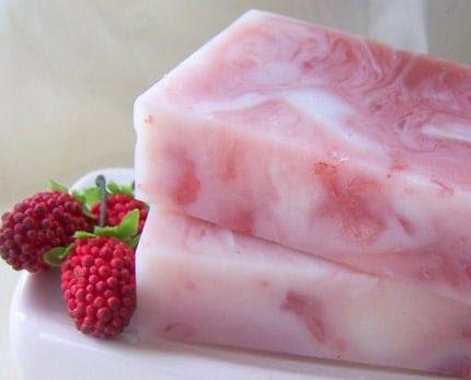 White Chocolate Raspberry Truffle Goats Milk Soap