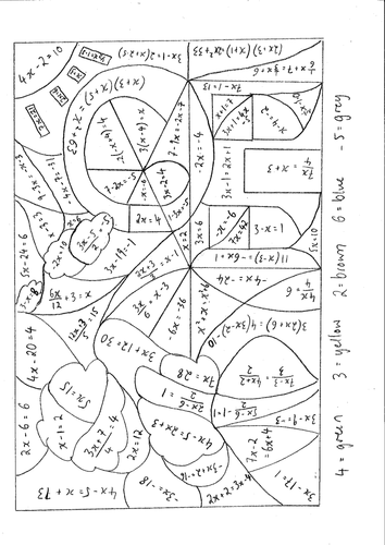 Calculated Colouring Solving Equations Grades C-A by ...