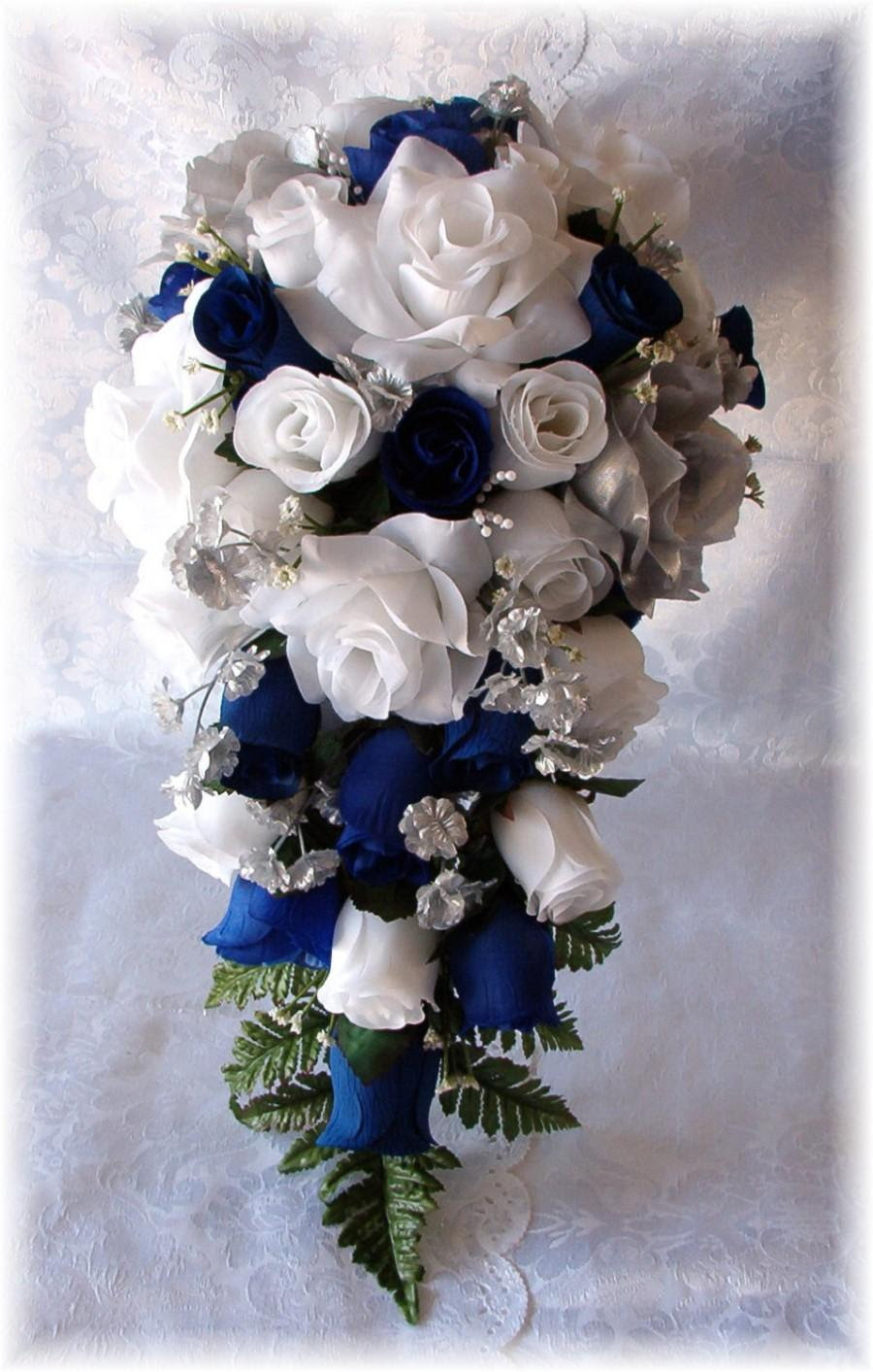 Royal Blue Horizon Wedding Bouquet Cascade 2pc White Silver Silk Flowers Boutonniere Roses 2438608 Weddbook