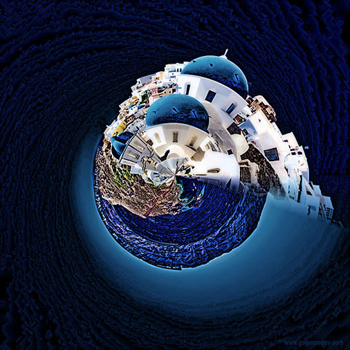 Santorini (Saint Irene), Thera, Thira, Greece, Stereographic Projection, iPad Apps